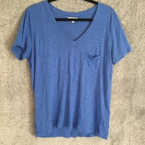 Madewell Blue V Neck Pocket Tee